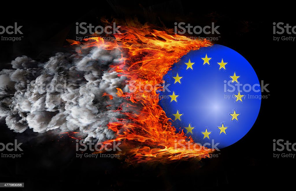 Flag with a trail of fire and smoke - EU stock photo