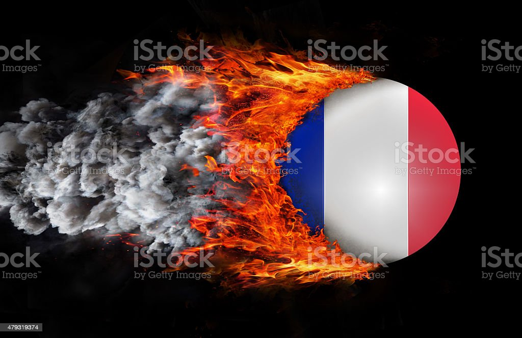 Flag with a trail of fire and smoke - France stock photo