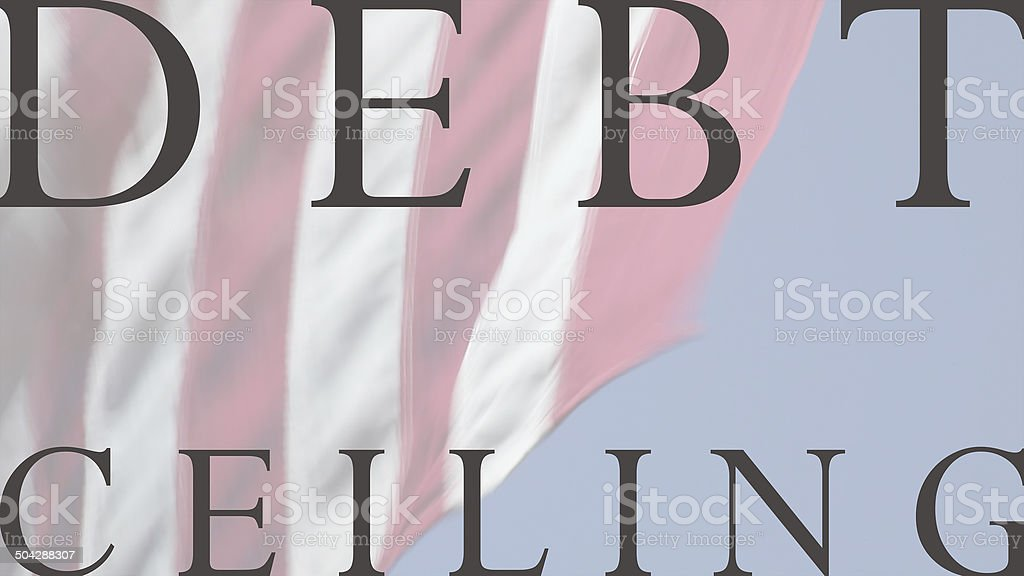 USA flag with debt ceiling words stock photo