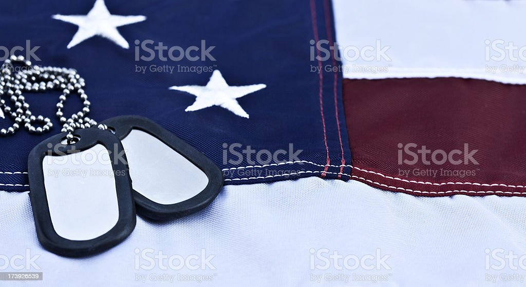 US Flag with Dog Tags stock photo