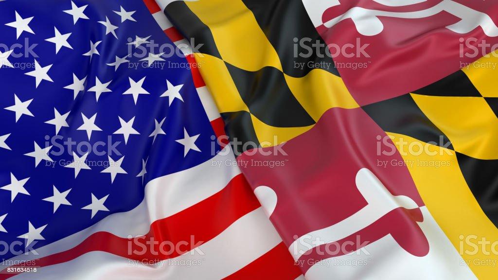 USA flag with flag of Maryland stock photo