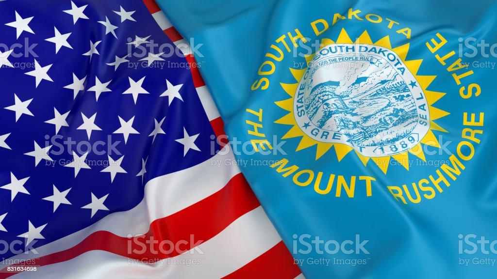 USA flag with flag of South Dakota stock photo