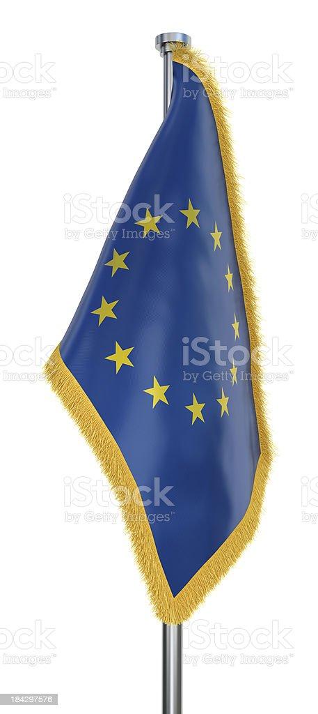 EU Flag with golden Fringe stock photo