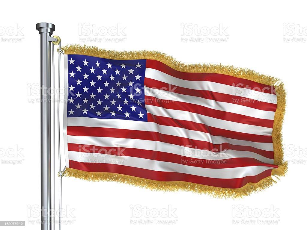 USA flag with golden Fringe stock photo
