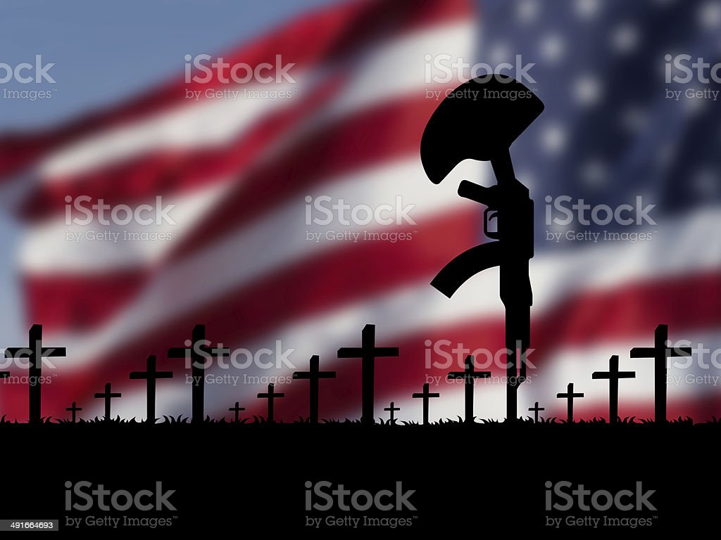 USA flag with rifle and tomb crosses memorial day stock photo