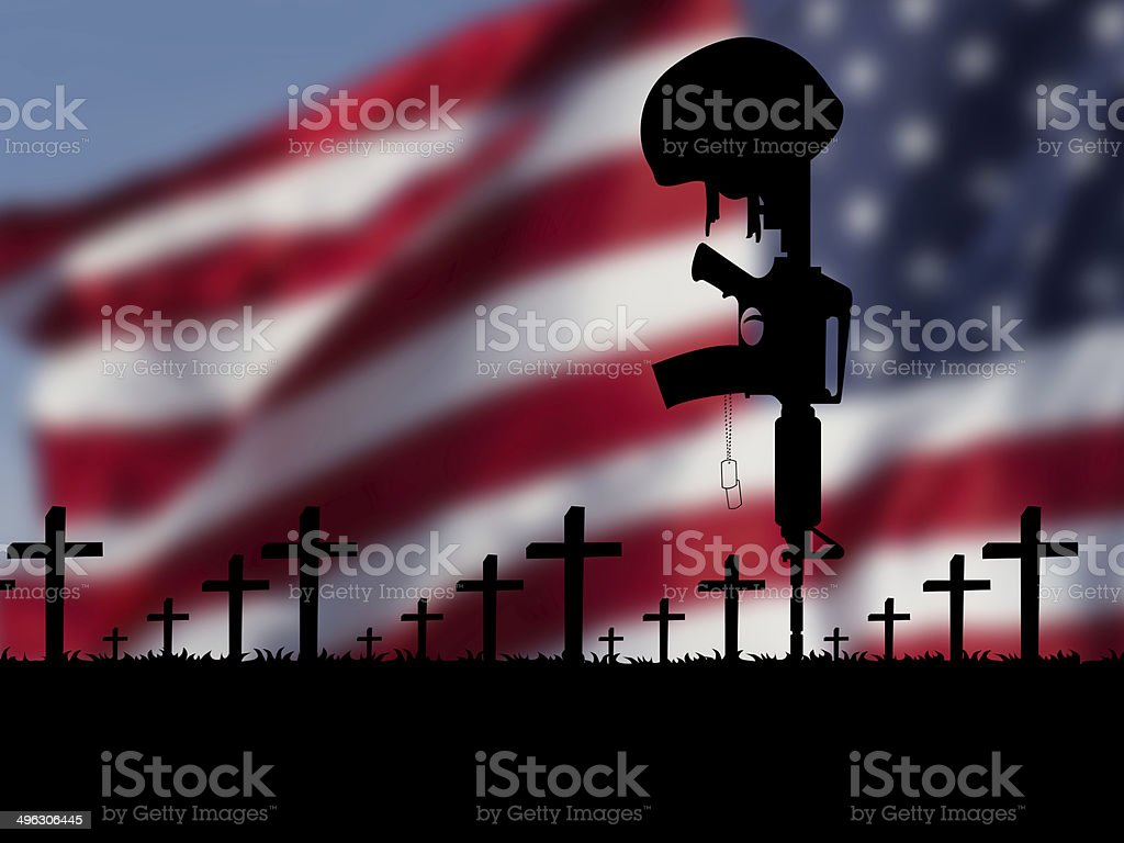 US flag with rifle and tomb crosses stock photo