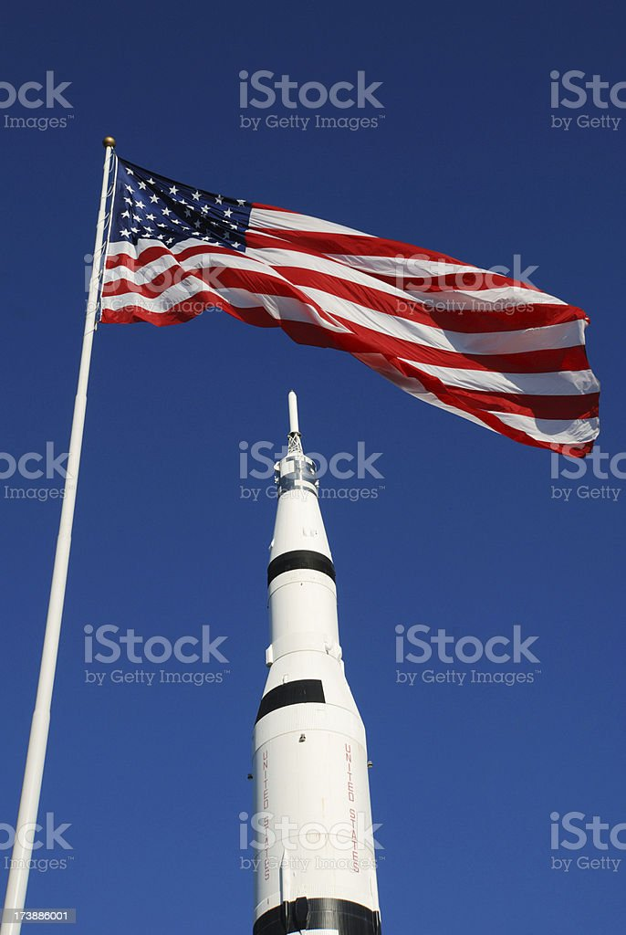 Flag with rocket stock photo