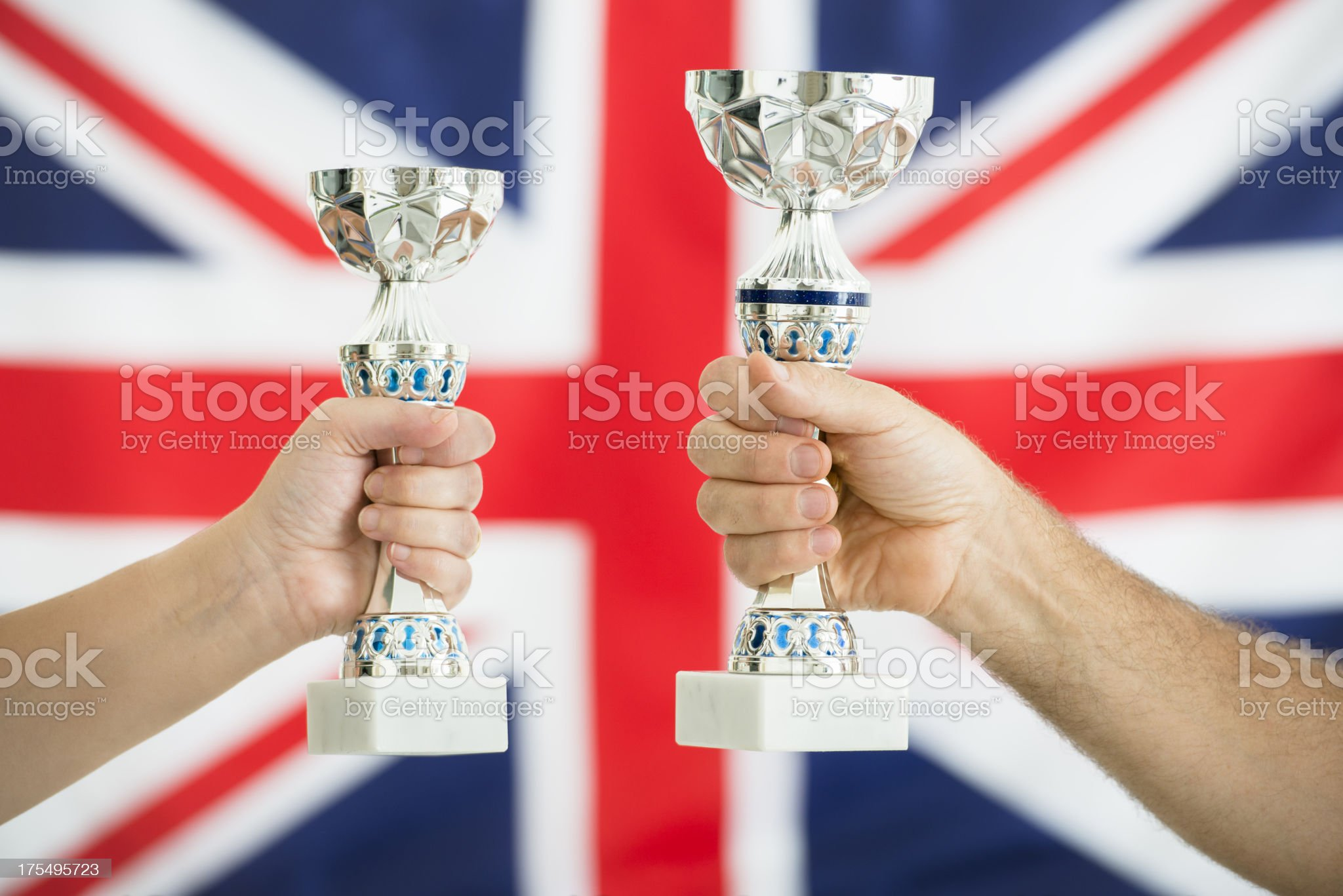 UK flag with the winners trophy cup -  London 2012 royalty-free stock photo