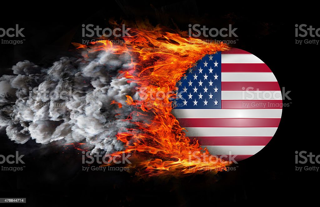 Flag with trail of fire and smoke - United States stock photo