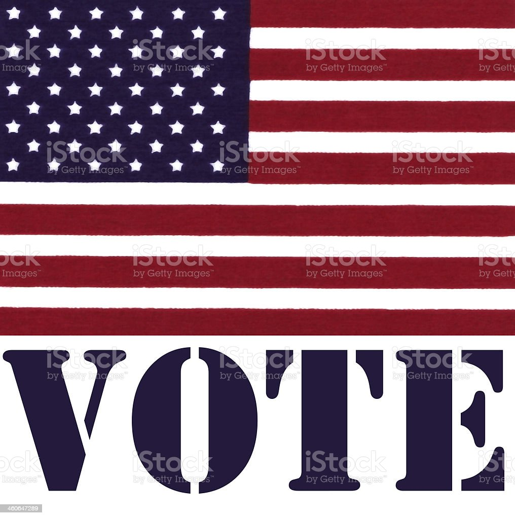 USA Flag with Vote text below stock photo