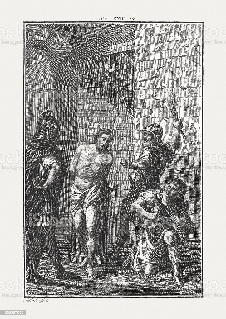 Flagellation of Christ (Luke 23), copper engraving, published c. 1850 stock photo