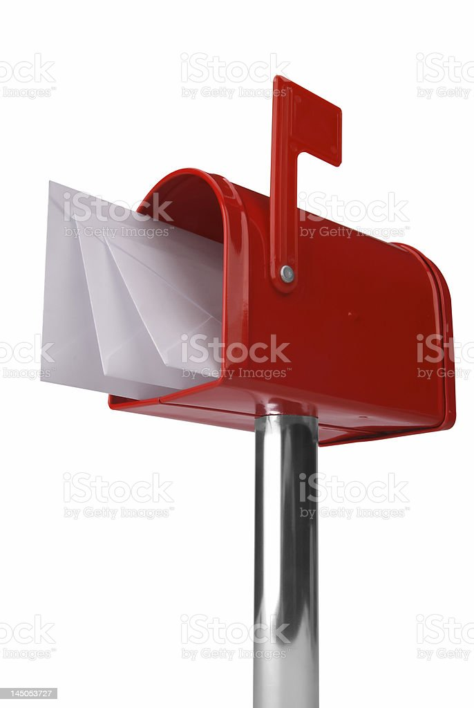 Flagged red mailbox filled with envelopes royalty-free stock photo