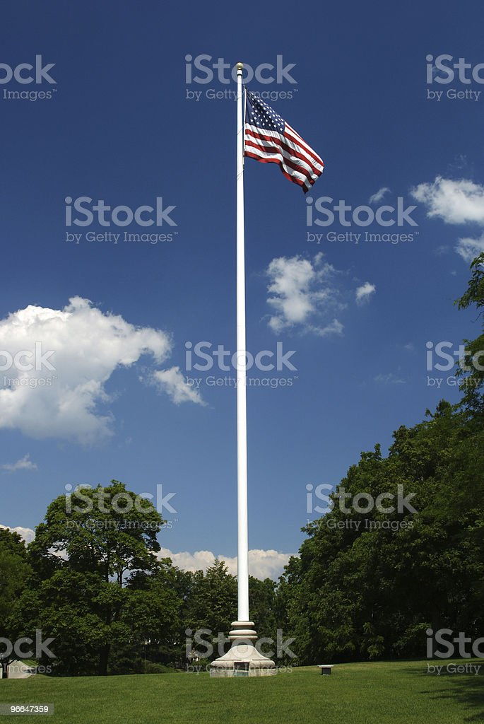 flagpole in field stock photo