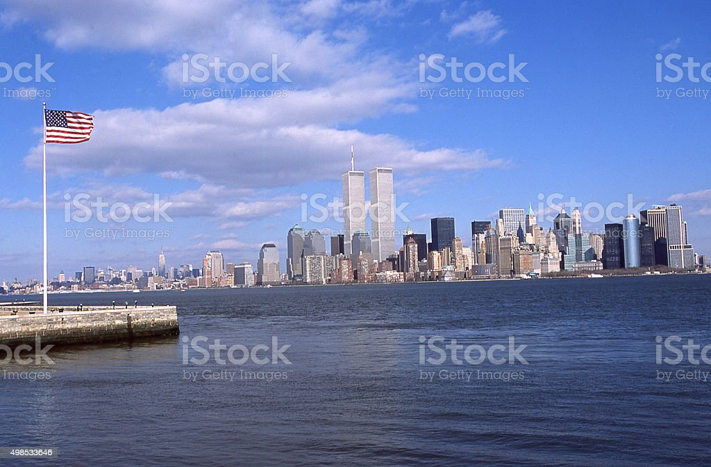 Flagpole Liberty Island New York Harbor skyline NYC 9/11 2001 stock photo