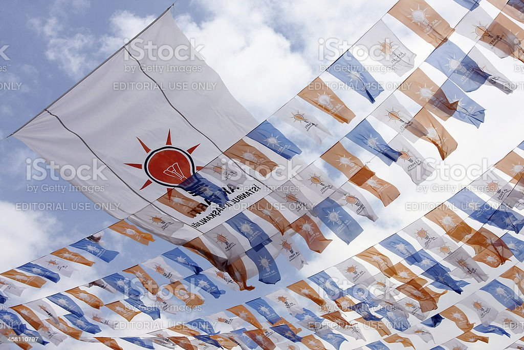 AKP flag:political party flag stock photo