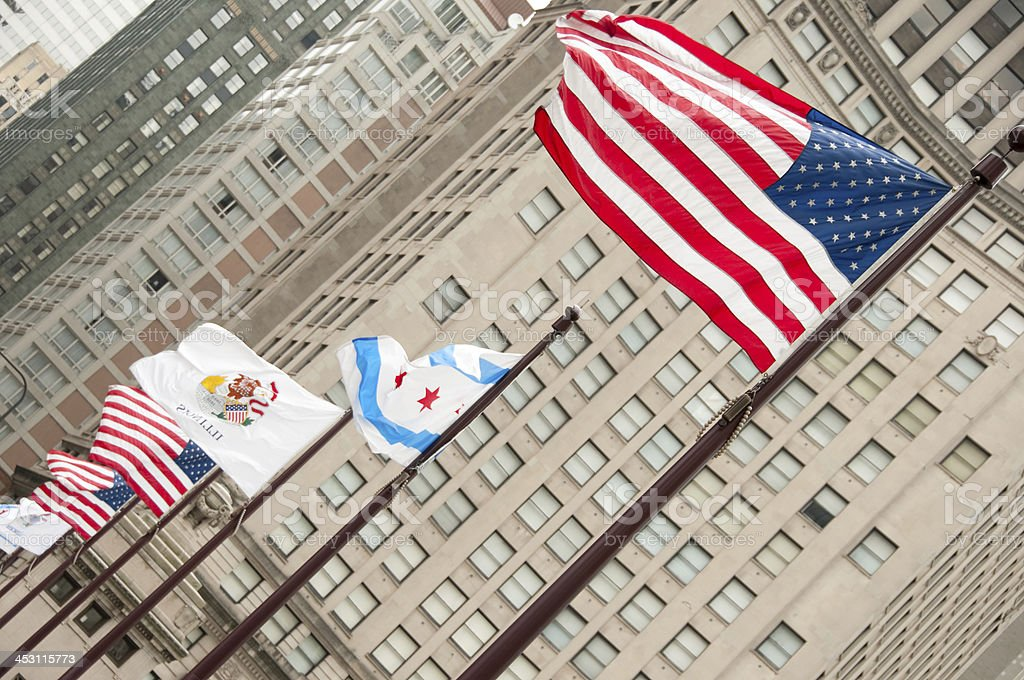 Flags along the Michigan Avenue bridge royalty-free stock photo