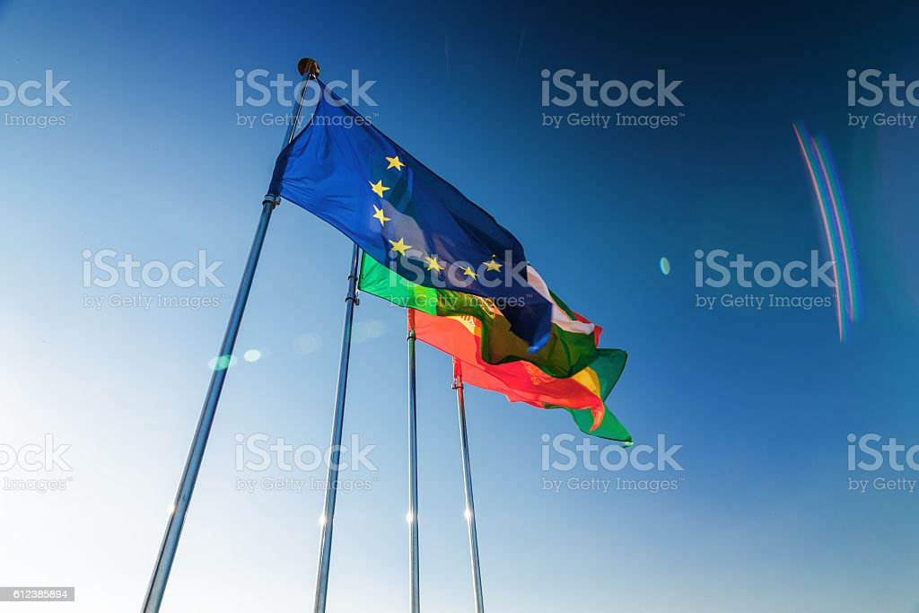 Flags and blue sky of Generalife, Granada, Andalusia province, Spain. stock photo