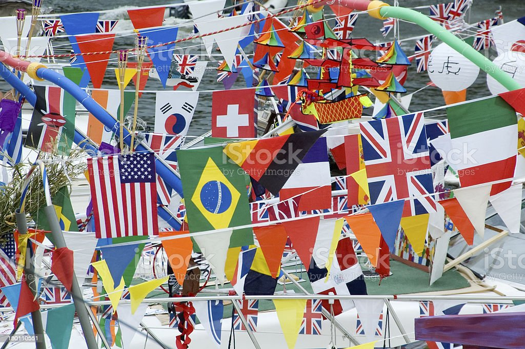 Flags and Bunting on River Festival Maidstone Kent UK royalty-free stock photo