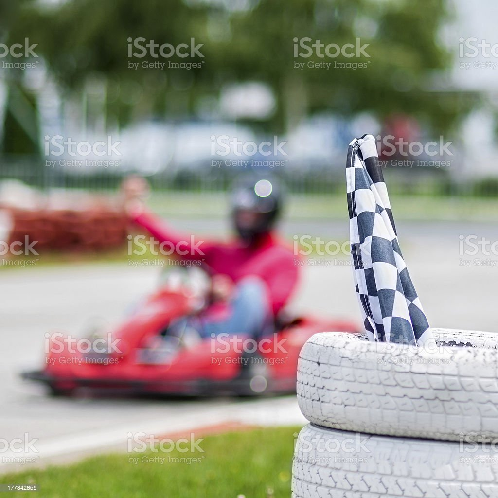 flags and karting stock photo