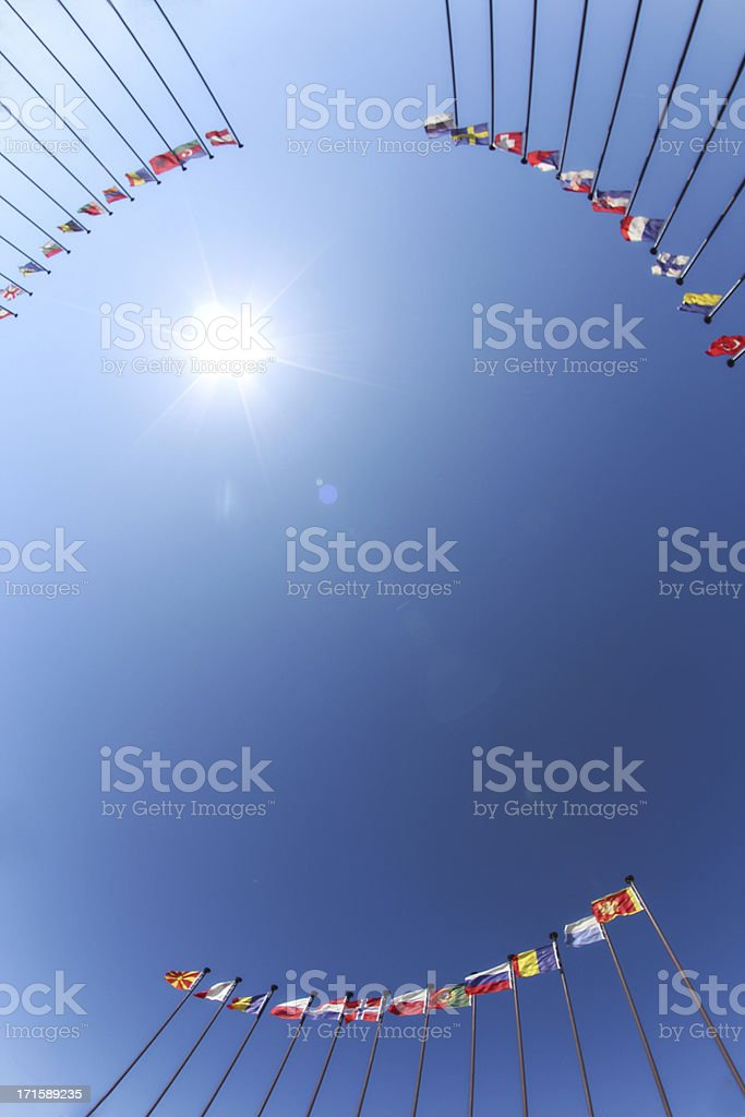 flags and sun stock photo