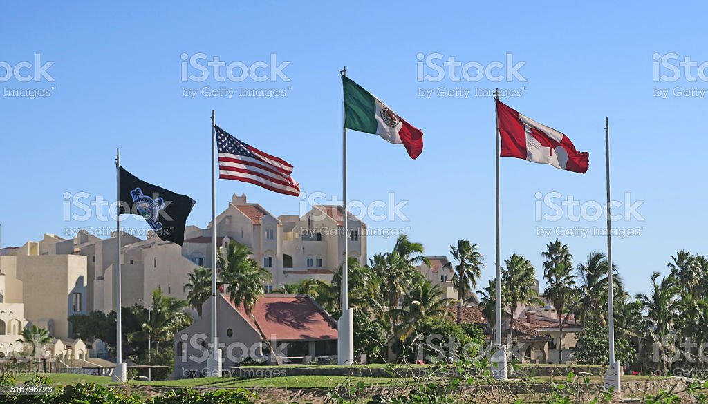 Flags  at a  golf course in San Jose Del Cabo stock photo