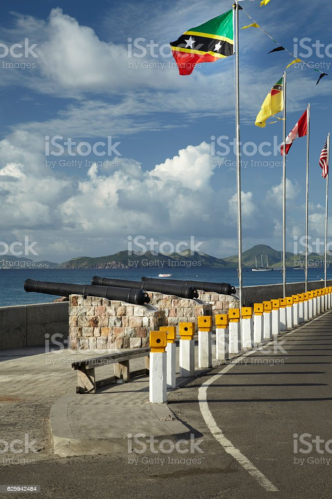 Flags At Charlestown Nevis west Indies stock photo