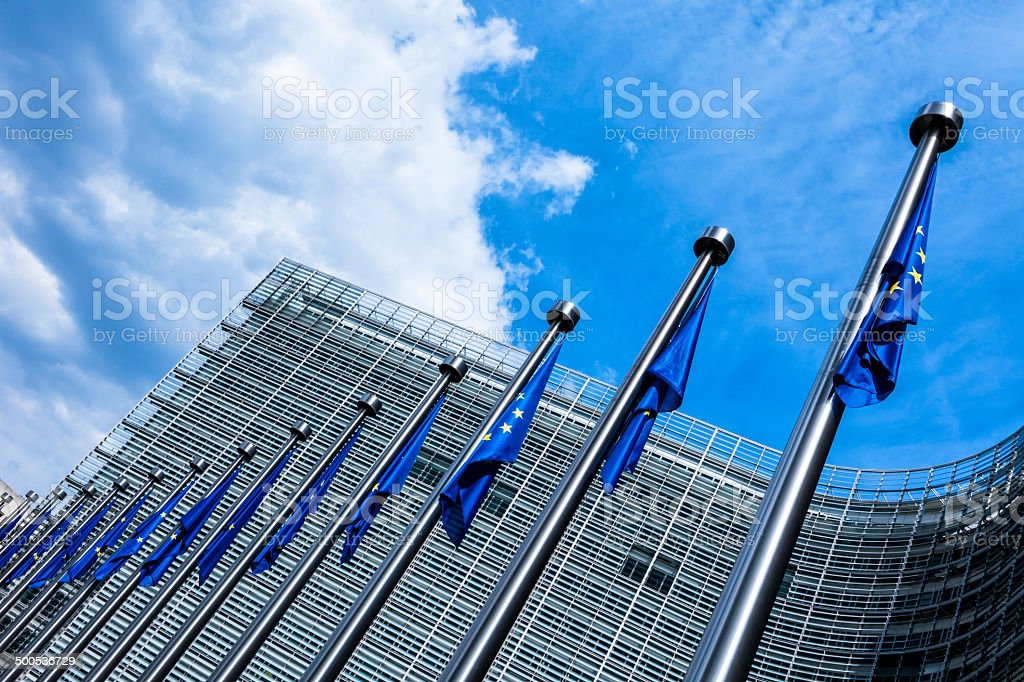 EU flags at European Commission, Brussels, Belgium stock photo