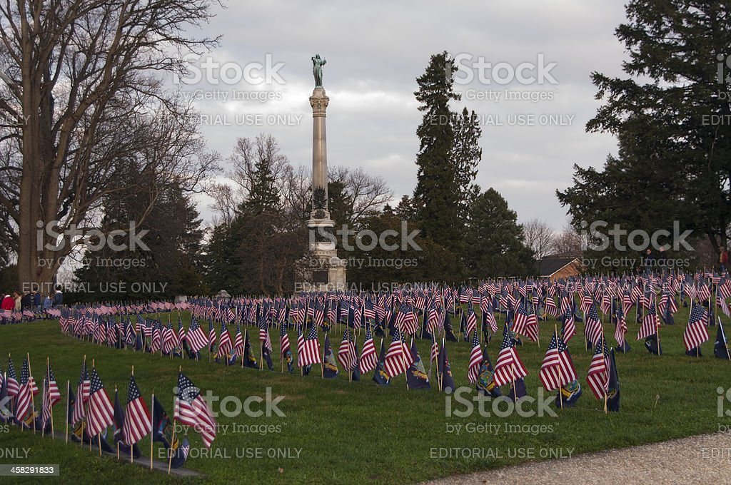 Flags at Gettysburg National Cemetery stock photo