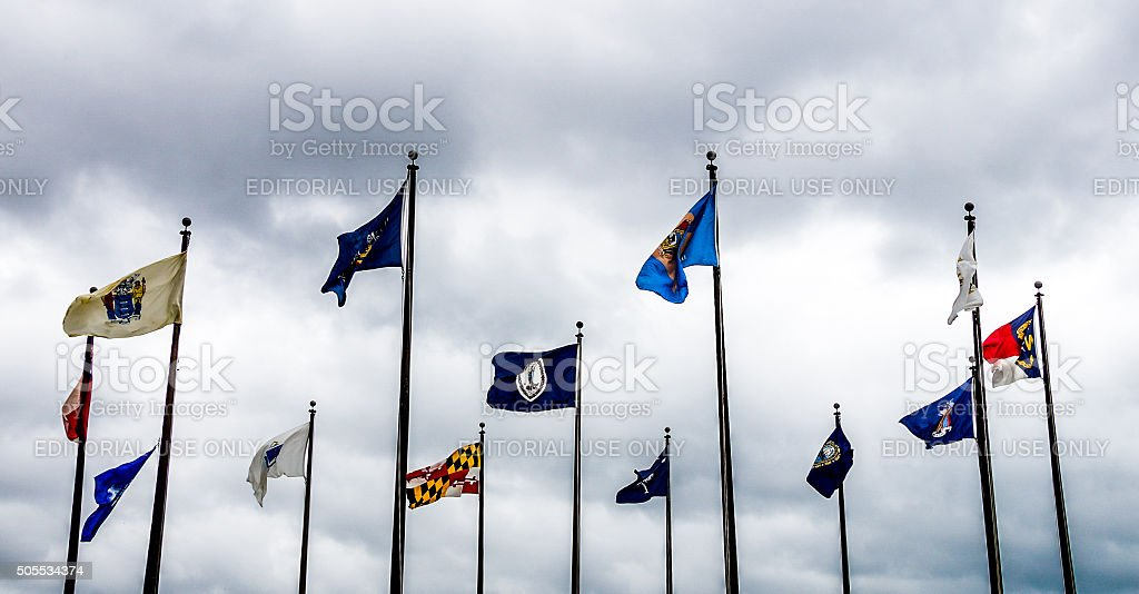 Flags at Jamestown stock photo