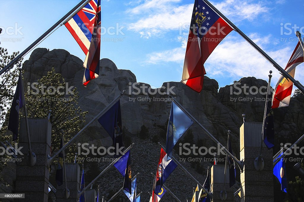 Flags at Mount Rushmore in South Dakota royalty-free stock photo