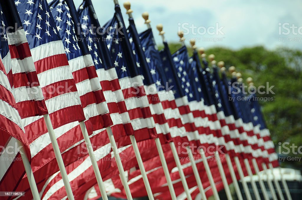 US Flags at Pearl Harbor stock photo