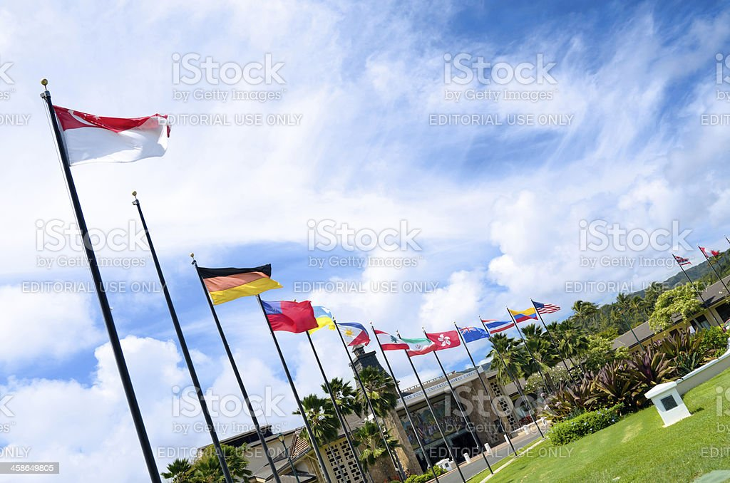 Flags at the Brigham Young University - Hawaii stock photo