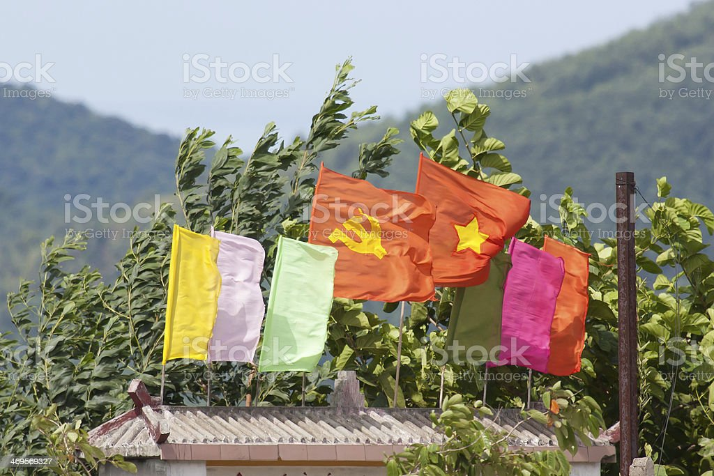 Flags at the entrance of a Vietnamese school royalty-free stock photo