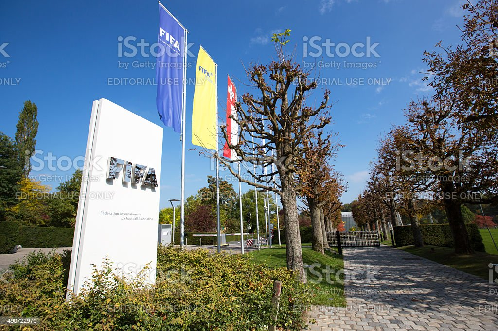 Flags at the entrance of the FIFA headquarter in Zurich stock photo