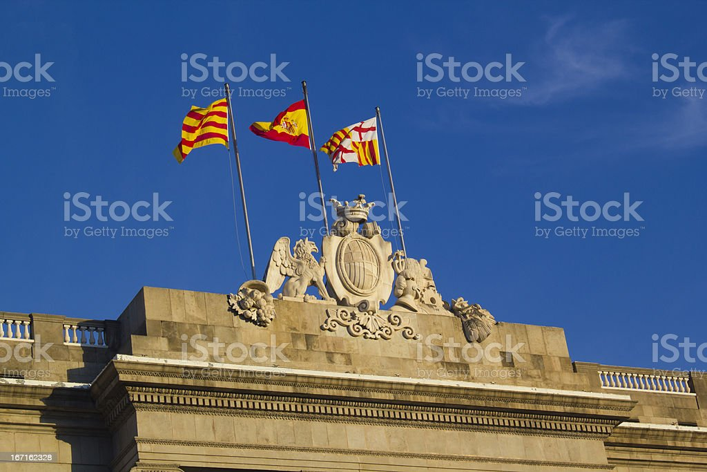 Flags at the Generalitat Palace royalty-free stock photo