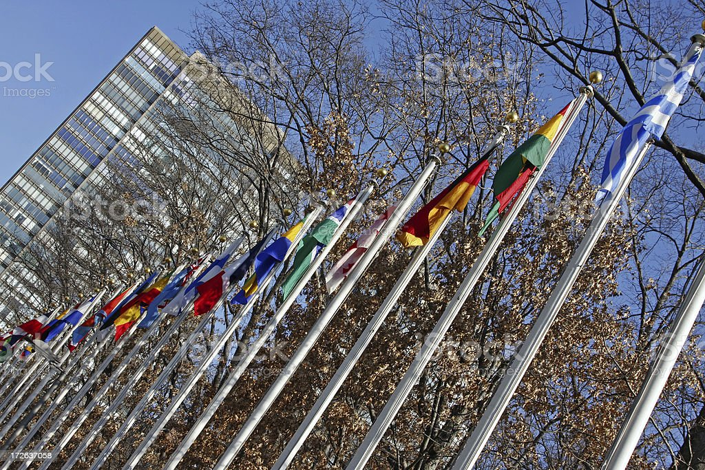 Flags at United Nations building # 2 stock photo