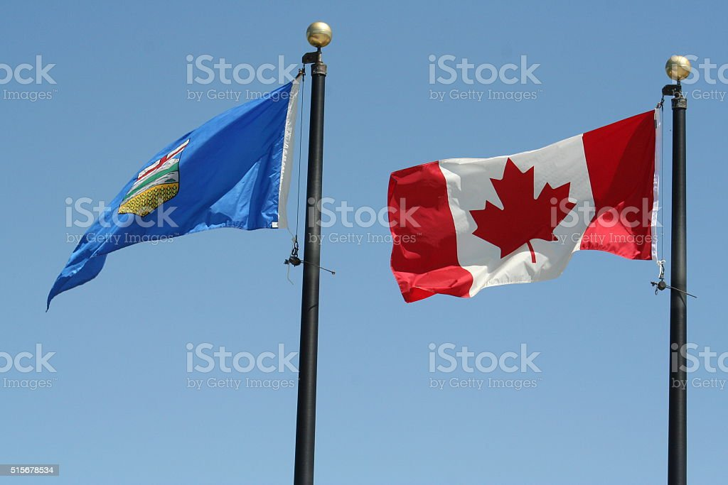 flags: Canada and Alberta stock photo