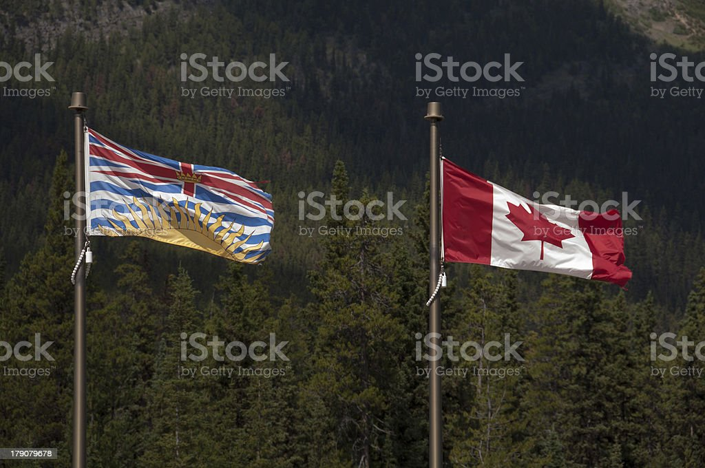 Flags Canada and British Columbia stock photo