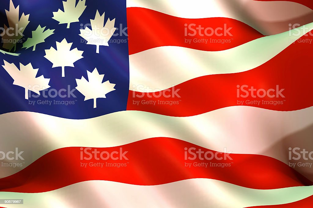 Flags, Canada-USA trade agreement royalty-free stock photo