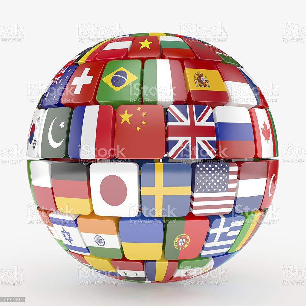 Flags collection sphere stock photo