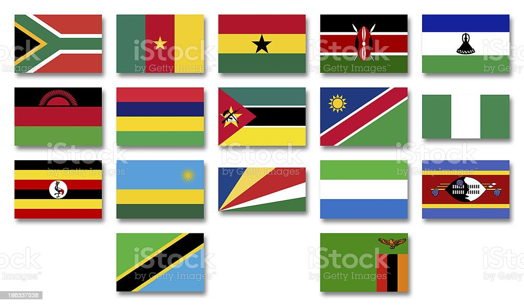 Flags  Commonwealth of Nations  African menbers royalty-free stock photo