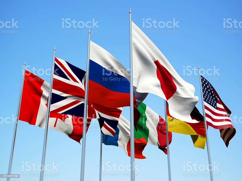 THE G8 COUNTRIES, Flags countries. stock photo
