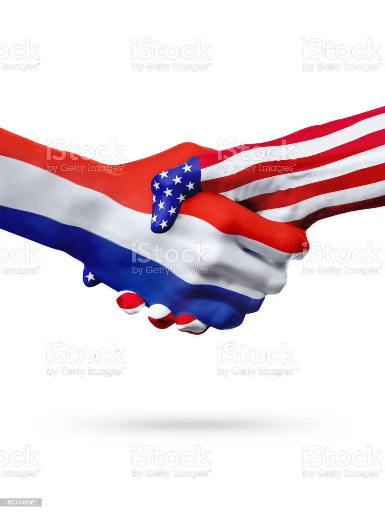 Flags Croatia and United States countries, overprinted handshake. stock photo