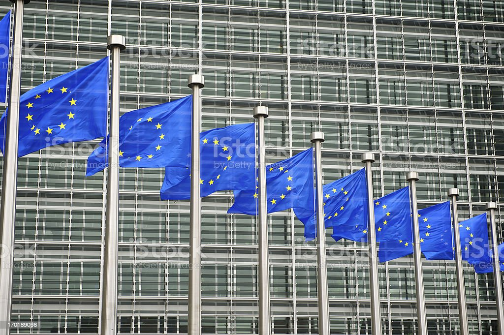 EU Flags Fly at the European Commission Building Brussels Belgium royalty-free stock photo
