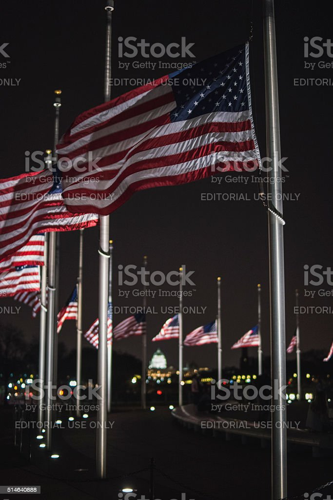 Flags flying half-mast at the Washington Monument stock photo