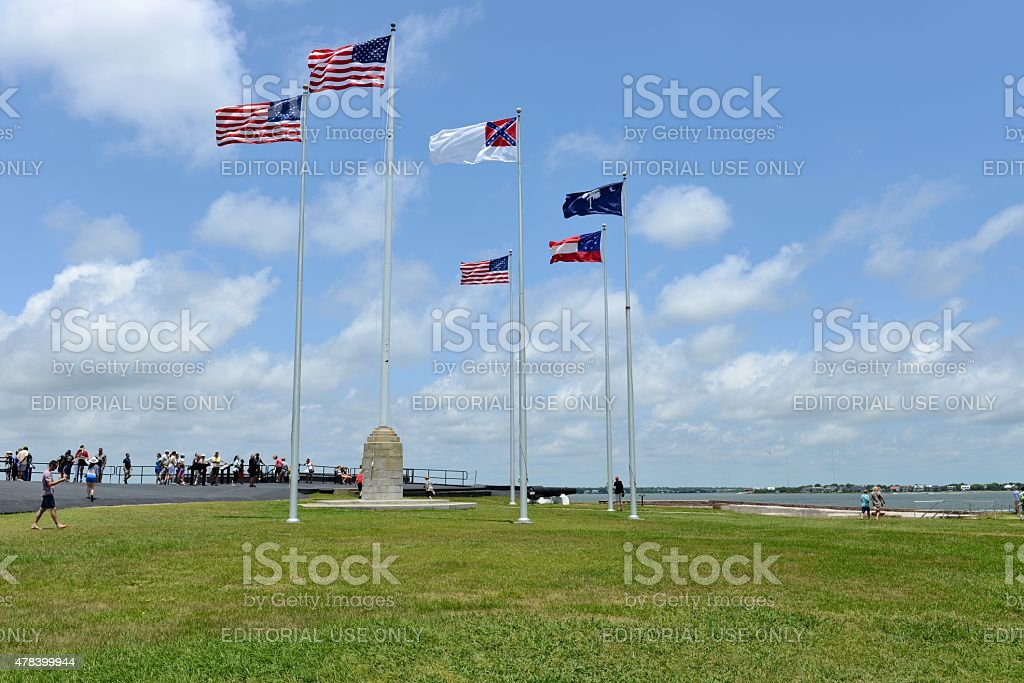 Flags flying over Fort Sumter stock photo