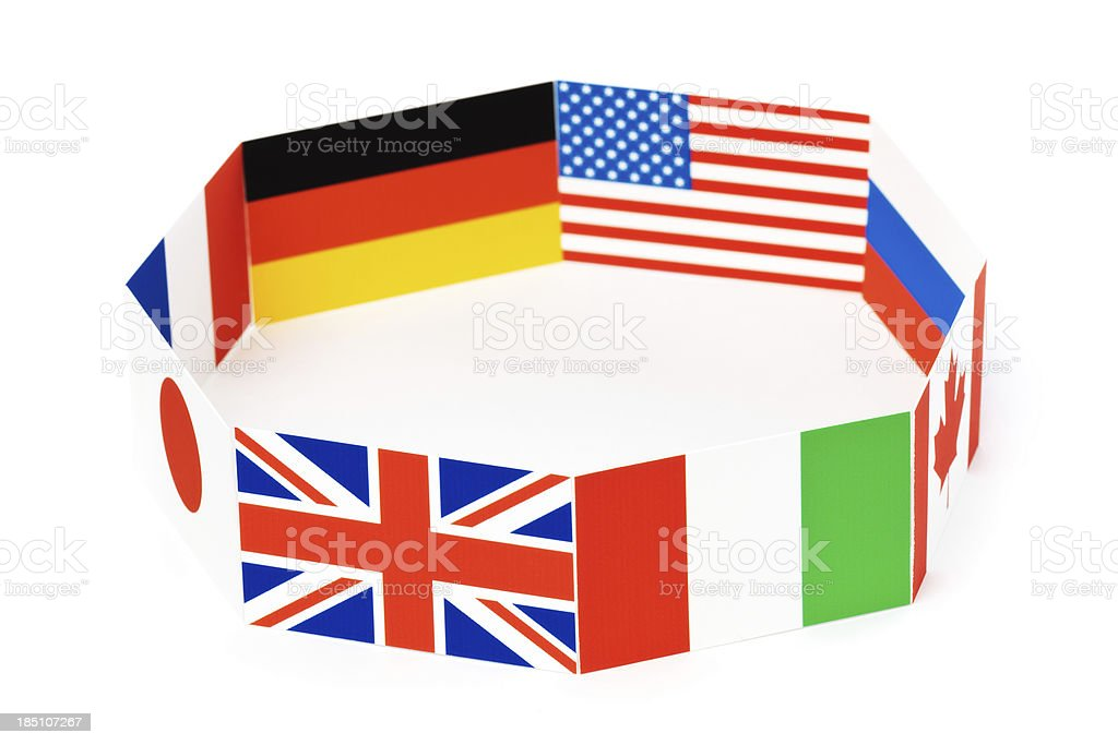 Flags for Global Economic G8 Group of Eight Nations Hz royalty-free stock photo