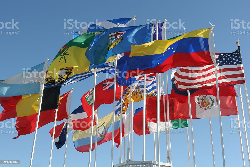 Flags from all Canadian provinces, USA and some International stock photo