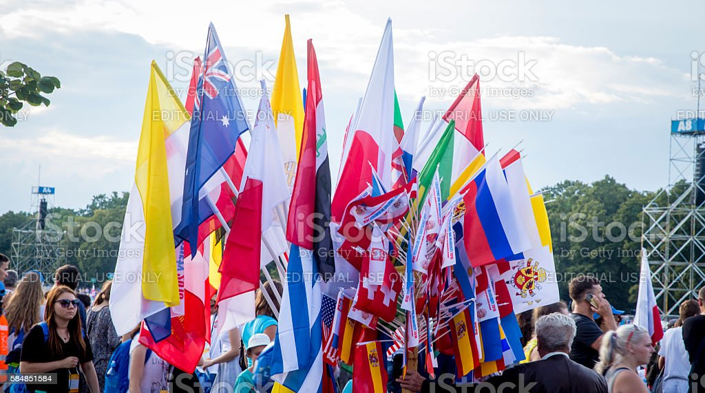 Flags from different countries on the World Youth Days stock photo