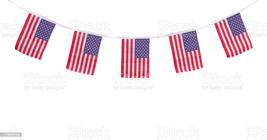 USA flags hanging proudly for July 4 Independence Day stock photo